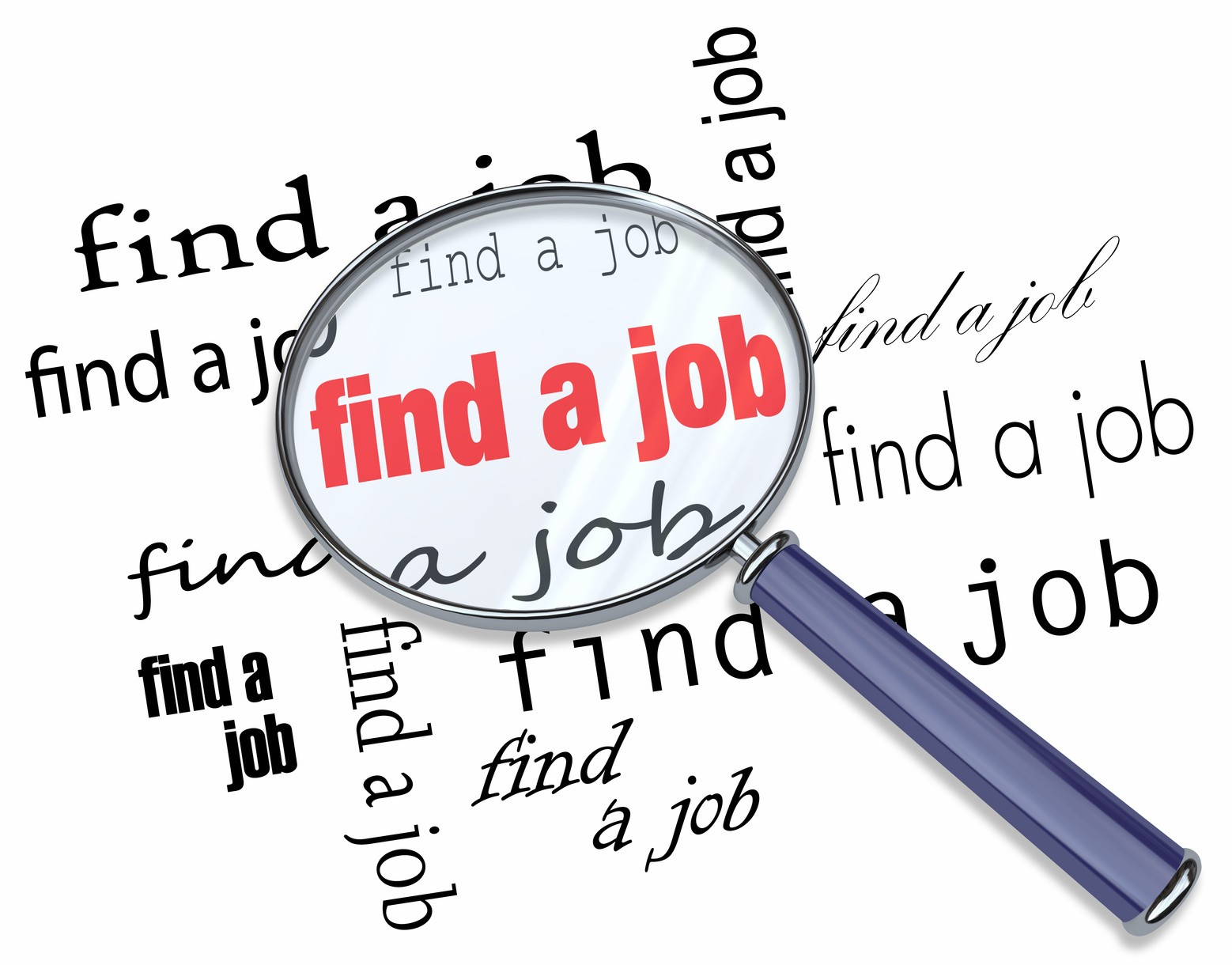 5 best successful job hunting tips in find a job magnifying glass on words
